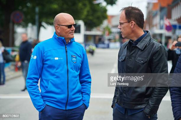 Bjarne Riis speaks to reporter Dennis Ritter of TV2 Danmark prior to the Elite Mens Road Race in the Danish Road Cycling Championships on June 25,...
