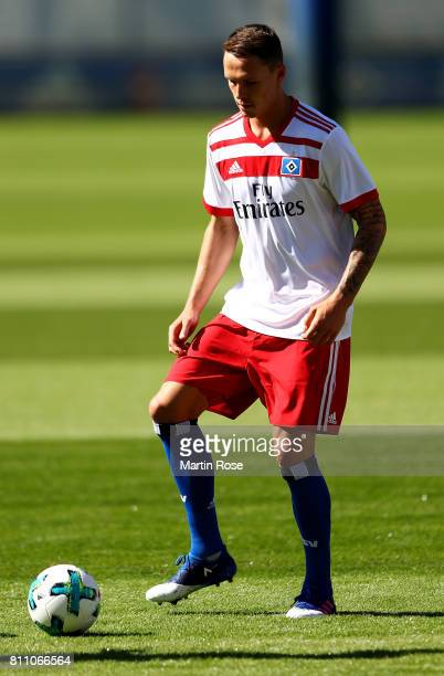 Bjarne Thoelke controls the ball during a training session of Hamburger SV at Volksparkstadion on July 9 2017 in Hamburg Germany