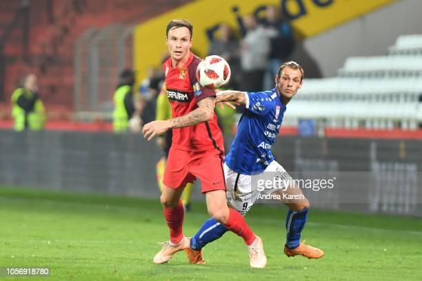 Bjarne Thoelke of Admira vies with Rajko Rep of Hartberg during the tipico Bundesliga match between FC Admira and TSV Hartberg at BSFZ-Arena on...