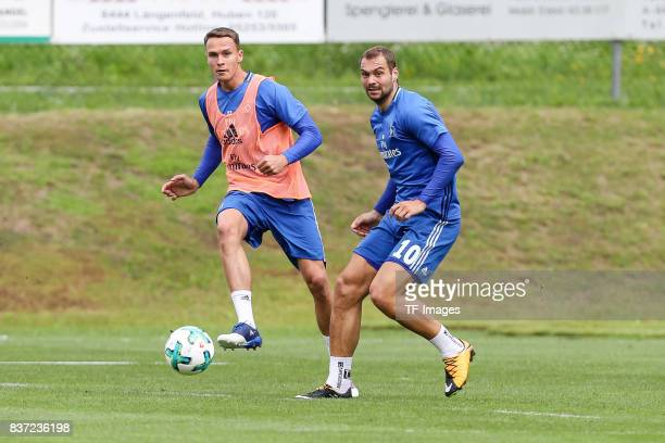 Bjarne Thoelke of Hamburg and Pierre-Michel Lasogga of Hamburg battle for the ball during the Training Camp of Hamburger SV on July 23, 2017 in...