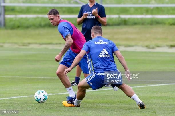 Bjarne Thoelke of Hamburg controls the ball during the Training Camp of Hamburger SV on July 22, 2017 in Laengenfeld, Austria.