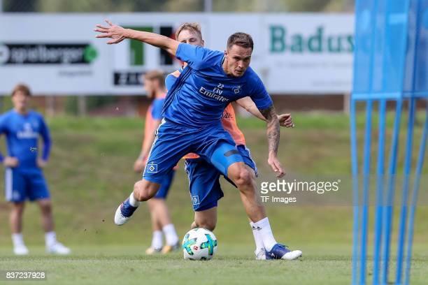 Bjarne Thoelke of Hamburg controls the ball during the Training Camp of Hamburger SV on July 23, 2017 in Laengenfeld, Austria.