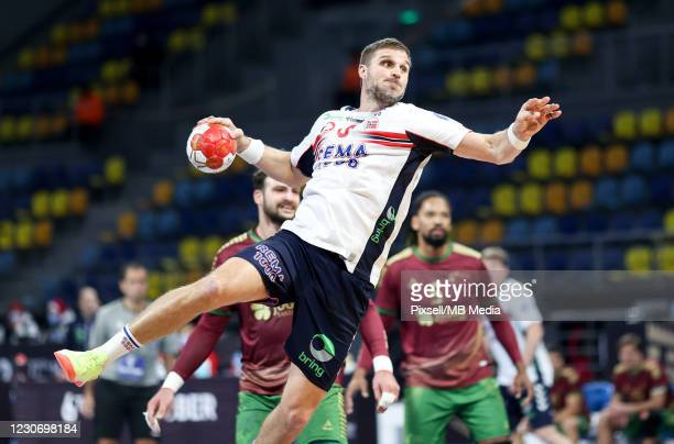 Bjarte Myrhol of Norway during the 27th IHF Men's World Championship Group III match between Portugal and Norway at Dr. Hassan Moustafa Indoor Sports...