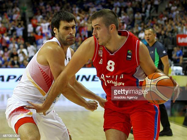 Bjelica of Serbia is in action during the EuroBasket 2015 group B match between Spain and Serbia at MercedesBenz Arena in Berlin Germany on September...