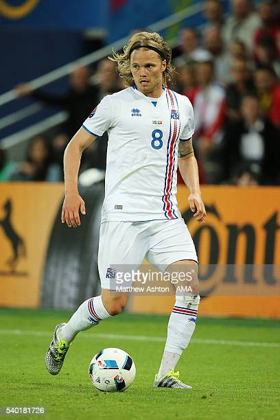 Bjirkir Bjarnason of Iceland in action during the UEFA EURO 2016 Group F match between Portugal and Iceland at Stade GeoffroyGuichard on June 14 2016...