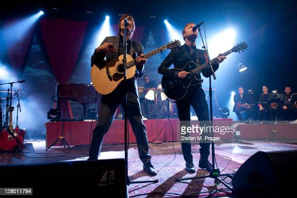 Bjoern Dixgard and Gustaf Noren of Mando Diao perform on stage at Zenith on October 4 2011 in Munich Germany