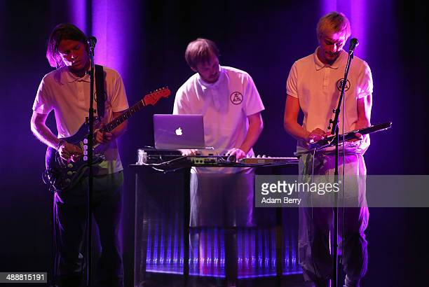Bjoern Dixgard and Gustaf Noren of Swedish group Mando Diao perform during a concert at the Apple Store on May 8 2014 in Berlin Germany