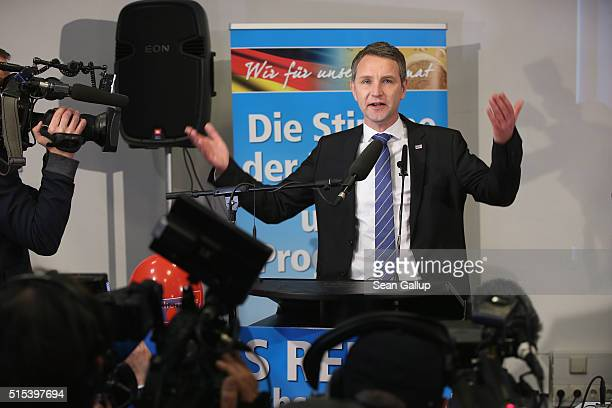 Bjoern Hocke head of the Alternative fuer Deutschland political party in the state of Thuringia speaks to supporters and the media after strong...