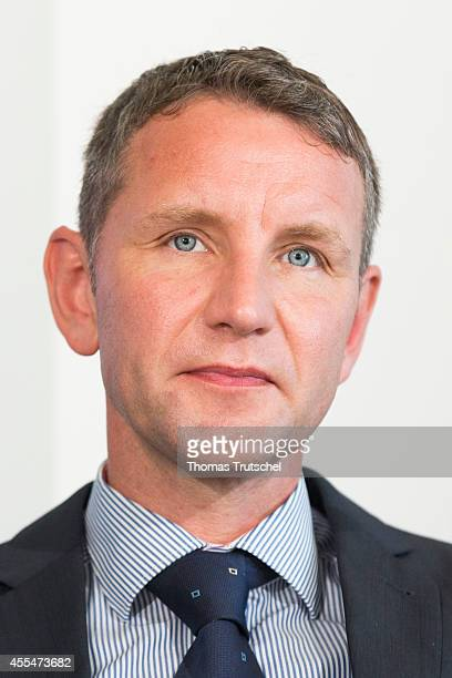 Bjoern Hoecke, AfD candidate for Thuringia, pictured during a press conference on September 15, 2014 in Berlin, Germany. The party, which is...