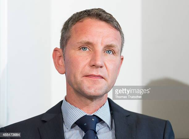 Bjoern Hoecke AfD candidate for Thuringia pictured during a press conference on September 15 2014 in Berlin Germany The party which is presenting...