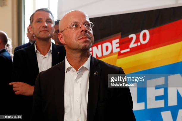 Bjoern Hoecke, and Andreas Kalbitz, lead candidate of the right-wing Alternative for Germany awaits the initial exit poll results in the Brandenburg...