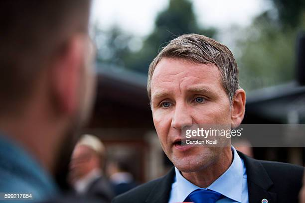 Bjoern Hoecke Chairman of AFD Group in the Thuringian Parliament and Country Representative of Alternative for Germany a newcomer populist party that...
