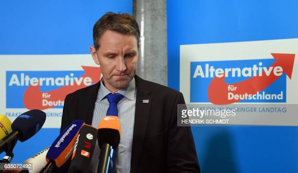 Bjoern Hoecke chairman of the antiimmigration Alternative for Germany party in the eastern federal state of Thuringia gives a statement on February...