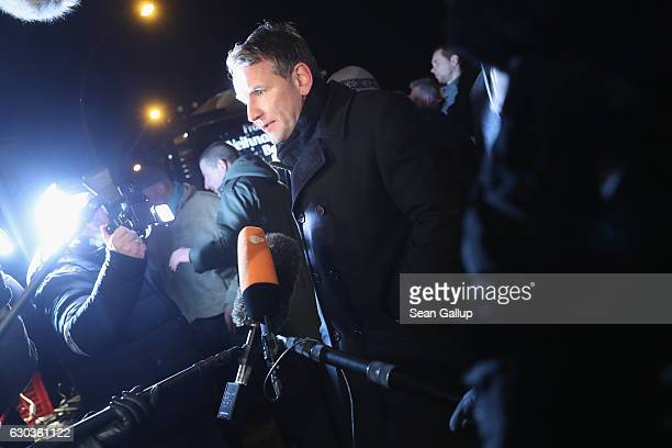 Bjoern Hoecke, co-head of the right-wing AfD political party in the state of Thuringia, speaks to reporters during an AfD vigil near the Chancellery...