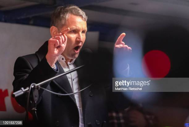 Bjoern Hoecke, far-right leader of the Alternative for Germany political party in the state of Thuringia, speaks to participants at the 200th Pegida...