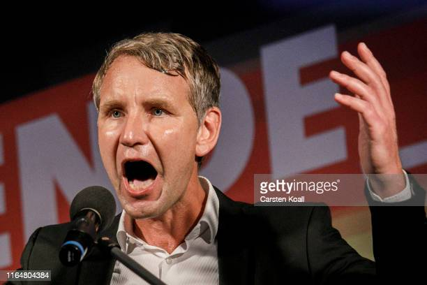Bjoern Hoecke, head of the Alternative fuer Deutschland political party in Thuringia, speaks to supporters at the final AfD campaign trail stop...