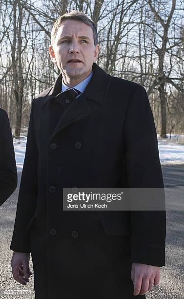 Bjoern Hoecke, head of the right-wing populist Alternative fuer Deutschland political party in the German state of Thuringia, stands outside the...
