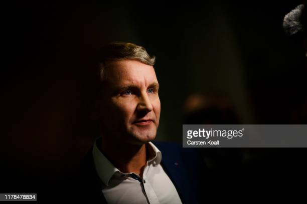 Bjoern Hoecke lead candidate of the rightwing Alternative for Germany walks through the corridors in the Thuringia state parliament building on the...