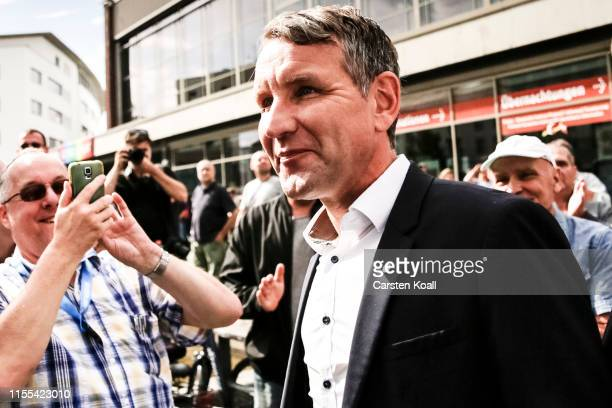Bjoern Hoecke, leader of the AfD in the state of Thuringia, arrives to speak during the inaugural AfD election rally in Brandenburg state elections...