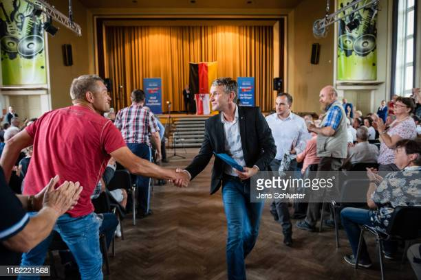 Bjoern Hoecke leader of the AfD in the state of Thuringia says goodbye to supporters at an election campaign gathering ahead of state elections in...
