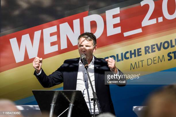 Bjoern Hoecke leader of the AfD in the state of Thuringia speaks to supporters during the inaugural AfD election rally in Brandenburg state elections...