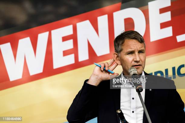 Bjoern Hoecke, leader of the AfD in the state of Thuringia, speaks to supporters during the inaugural AfD election rally in Brandenburg state...
