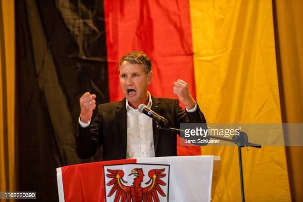 Bjoern Hoecke, leader of the AfD in the state of Thuringia, speaks to supporters at an election campaign gathering ahead of state elections in the...