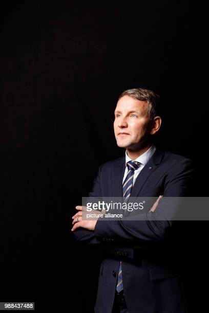 Bjoern Hoecke leader of the faction of the Alternative for Germany in Thuringia stands in a mobile photo studio in the course of the AfD's party...