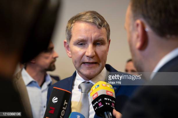 Bjoern Hoecke, leader of the right-wing Alternative for Germany in the German state of Thuringia gives a statement after election of a new governor...