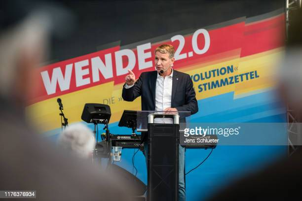 Bjoern Hoecke leader of the rightwing Alternative for Germany political party in the state of Thuringia speaks to supporters at an AfD election...
