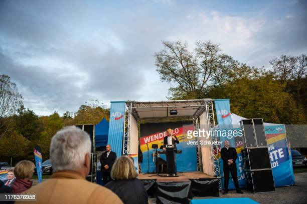 Bjoern Hoecke, leader of the right-wing Alternative for Germany political party in the state of Thuringia, speaks to supporters at an AfD election...