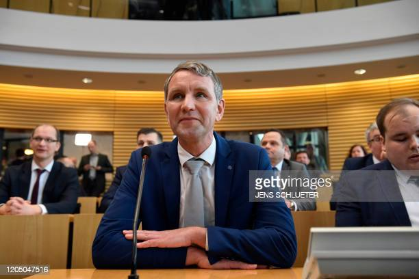 Bjoern Hoecke of the farright Alternative for Germany party has taken seat at the Thuringian State Parliament in Erfurt eastern Germany on March 4...