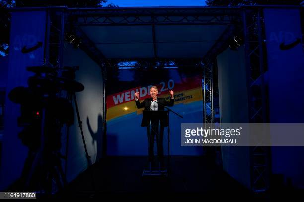 Bjoern Hoecke of the far-right party Alternative for Germany addresses an election rally in Koenigs Wusterhausen, eastern Germany on August 30, 2019....