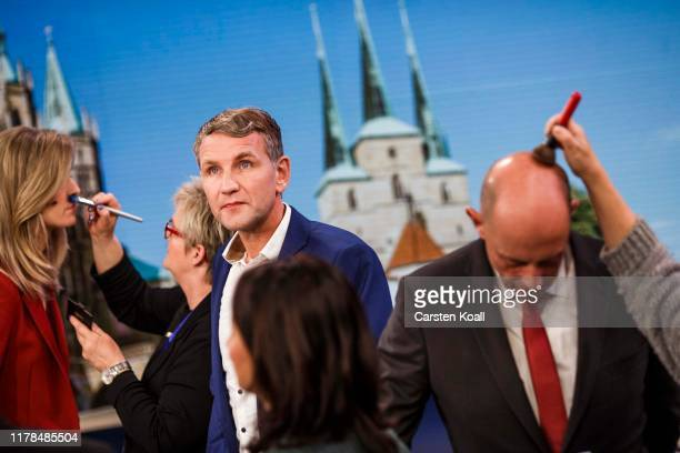 Bjoern Hoecke of the rightwing Alternative for Germany arrives for a television interview following state elections in Thuringia on October 27 2019...