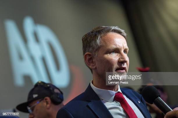 Bjoern Hoecke of the right-wing Alternative for Germany political party gives an interview at the beginning of the AfD federal congress on June 30,...