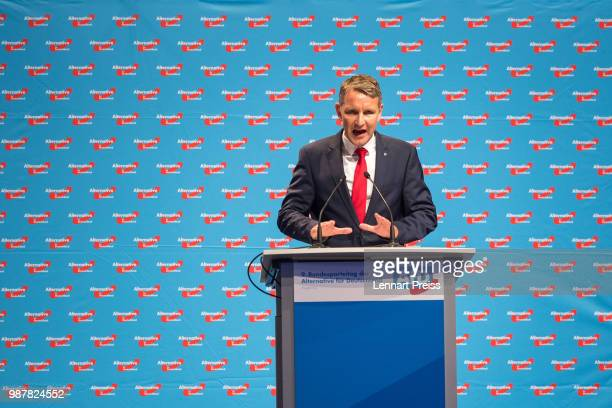 Bjoern Hoecke of the right-wing Alternative for Germany political party attends the AfD federal congress on June 30, 2018 in Augsburg, Germany. The...