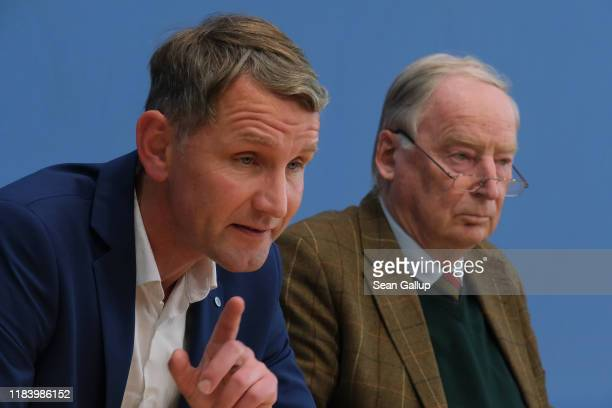 Bjoern Hoecke , Thuringia candidate of the right-wing Alternative for Germany , and AfD Bundestag faction co-leader Alexander Gauland speak to the...