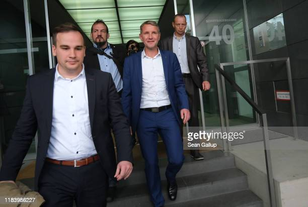 Bjoern Hoecke , Thuringia candidate of the right-wing Alternative for Germany , departs after speaking to the media the day after state elections in...