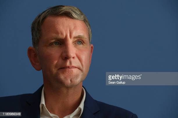 Bjoern Hoecke , Thuringia candidate of the right-wing Alternative for Germany , speaks to the media the day after state elections in Thuringia on...