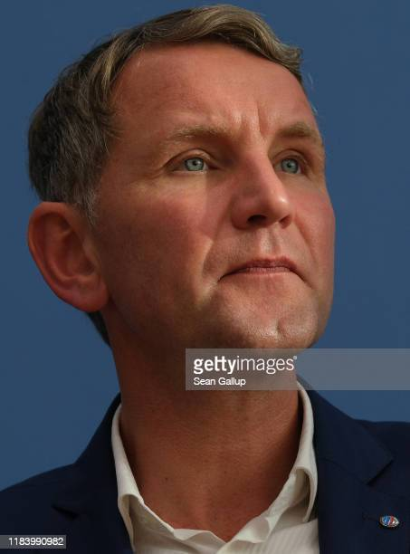 Bjoern Hoecke, Thuringia candidate of the right-wing Alternative for Germany , speaks to the media the day after state elections in Thuringia on...