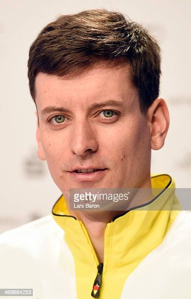 Bjoern Kircheisen is seen during a press conference at the 'Deutsche Haus' in Krasnaya Polyana on day 9 of the Sochi 2014 Winter Olympics on February...