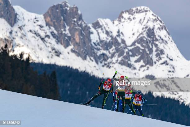 TOPSHOT Bjoern Kircheisen of Germany and Johannes Rydzek of Germany compete during the Seefeld Nordic Combined Triple at the FIS Nordic Combined...