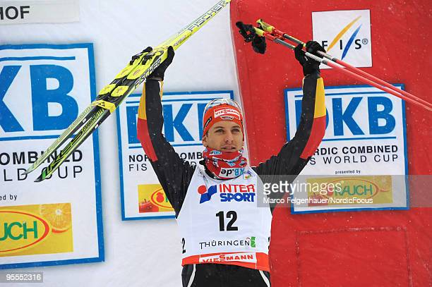 Bjoern Kircheisen of Germany celebrates after the Gundersen 10km Cross Country event during day two of the FIS Nordic Combined World Cup on January 3...