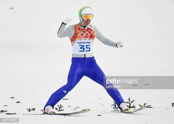 Bjoern Kircheisen of Germany celebrates in the Nordic Combined Men's Individual LH during day 11 of the Sochi 2014 Winter Olympics at RusSki Gorki...