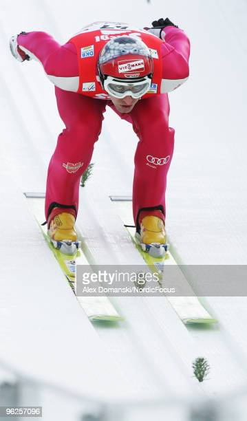 Bjoern Kircheisen of Germany competes in the Gundersen Ski Jumping HS Provisional Round of the FIS Nordic Combined World Cup on January 29 2010 in...