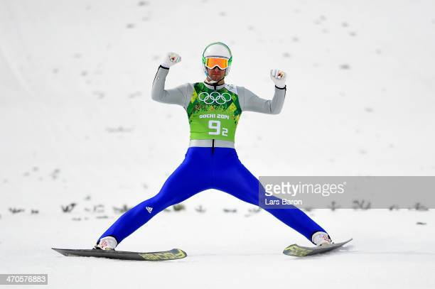Bjoern Kircheisen of Germany competes in the Nordic Combined Men's Team LH during day 13 of the Sochi 2014 Winter Olympics at RusSki Gorki Jumping...