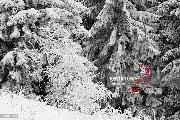 Bjoern Kircheisen of Germany is seen in the seat lift prior to the Ski Jumping event of the FIS Nordic Combined World Cup at the HansRennerSchanze on...