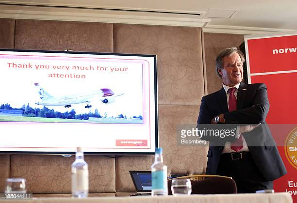 Bjoern Kjos chief executive officer of Norwegian Air Shuttle AS speaks during a news conference in London UK on Thursday Oct 17 2013 Norwegian Air...