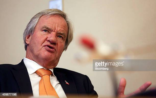Bjoern Kjos chief executive officer of Norwegian Air Shuttle AS speaks during a news conference in Crawley UK on Wednesday Dec 3 2014 Norwegian Air...