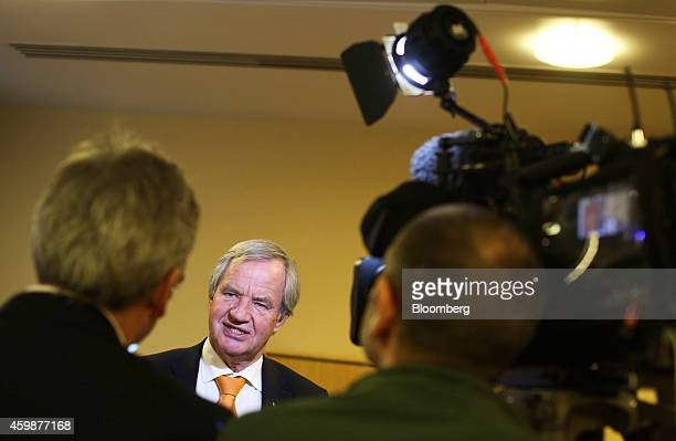 Bjoern Kjos chief executive officer of Norwegian Air Shuttle AS speaks to members of the media following a news conference in Crawley UK on Wednesday...